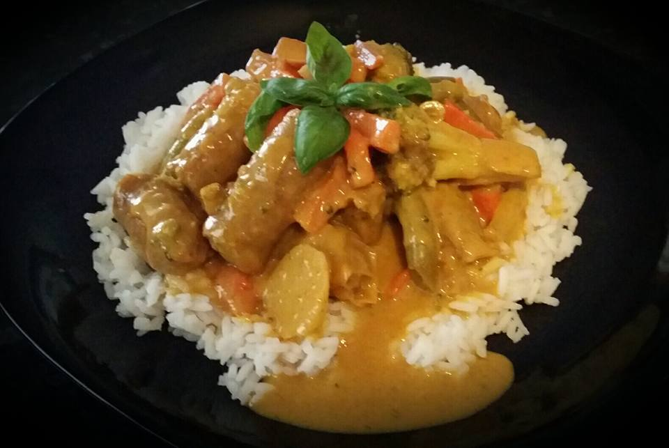 Easy Peasy Curried Sausages